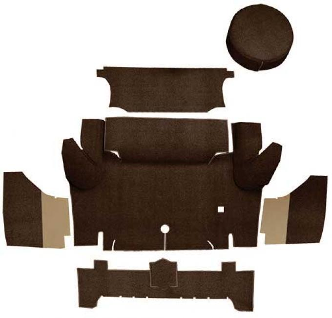 OER 1965-66 Mustang Coupe Loop Trunk Carpet Set with Boards - Dark Brown A4046A30