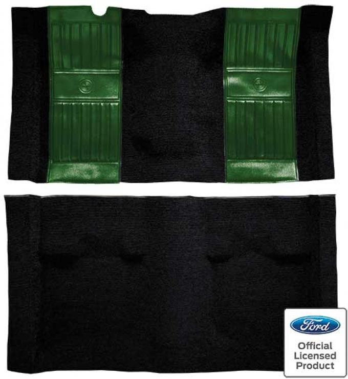 OER 1971-73 Mustang Mach 1 Nylon Floor Carpet with Mass Backing - Black with Green Pony Inserts A4117B39