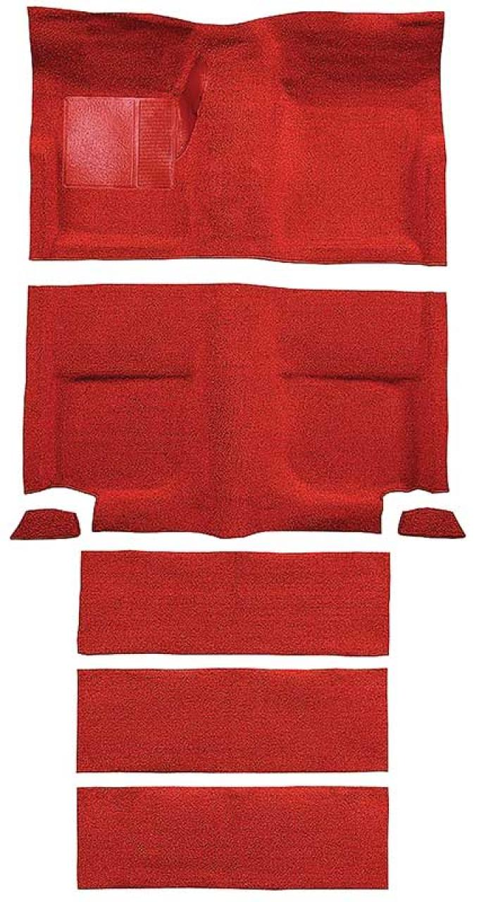 OER 1965-68 Mustang Fastback Nylon Floor Carpet with Fold Downs and Mass Backing - Red A4099B02