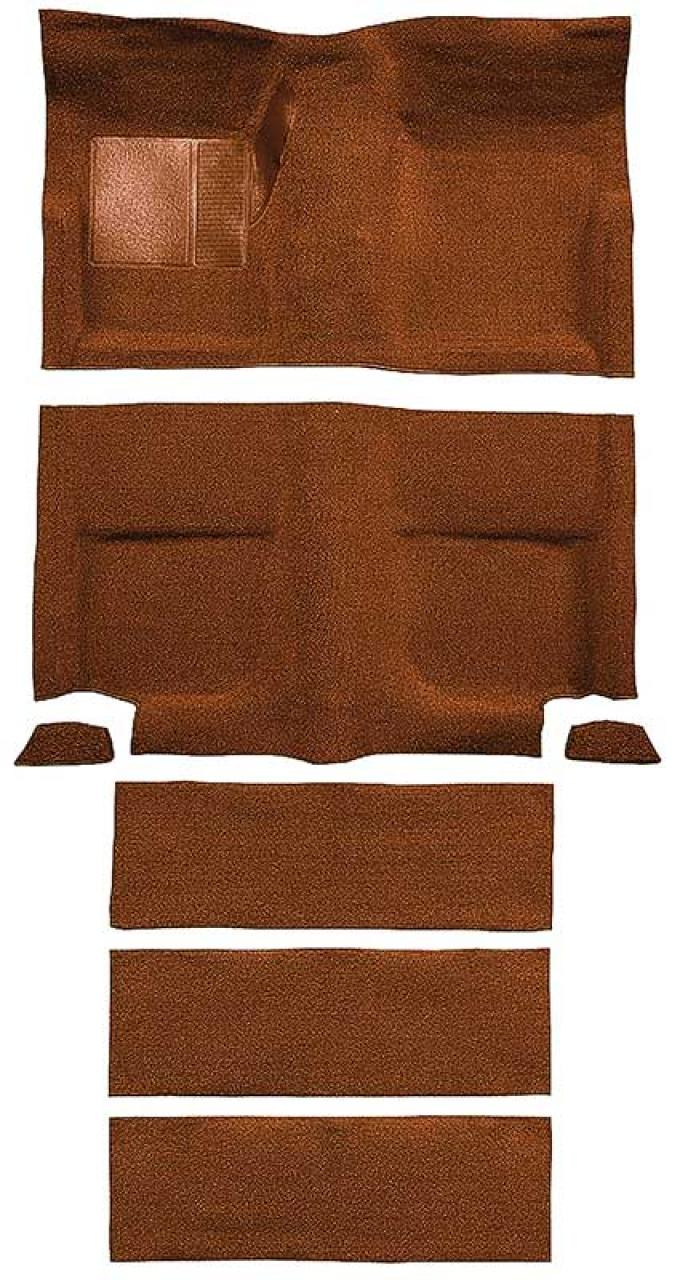 OER 1965-68 Mustang Fastback Nylon Floor Carpet with Fold Downs and Mass Backing - Saddle A4099B24