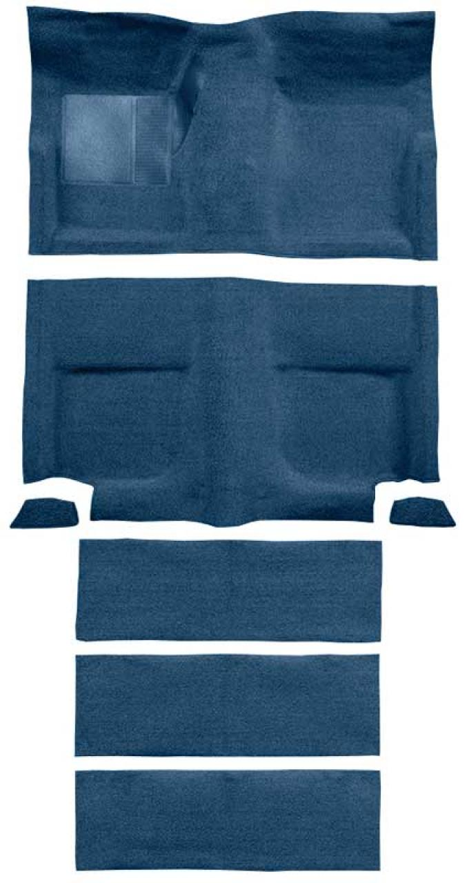 OER 1965-68 Mustang Fastback Passenger Area Loop Carpet with Fold Downs - Ford Blue A4102A62