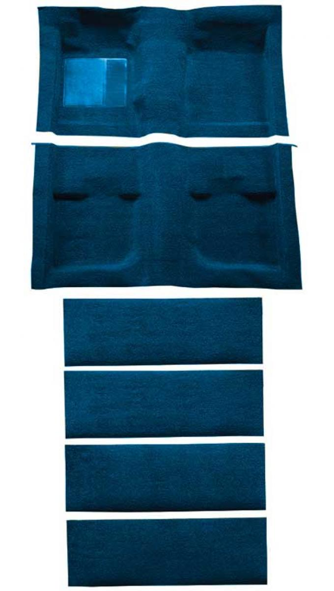 OER 1971-73 Mustang Coupe/Fastback Nylon Floor Carpet with Fold Downs and Mass Backing - Dark Blue A4061B12