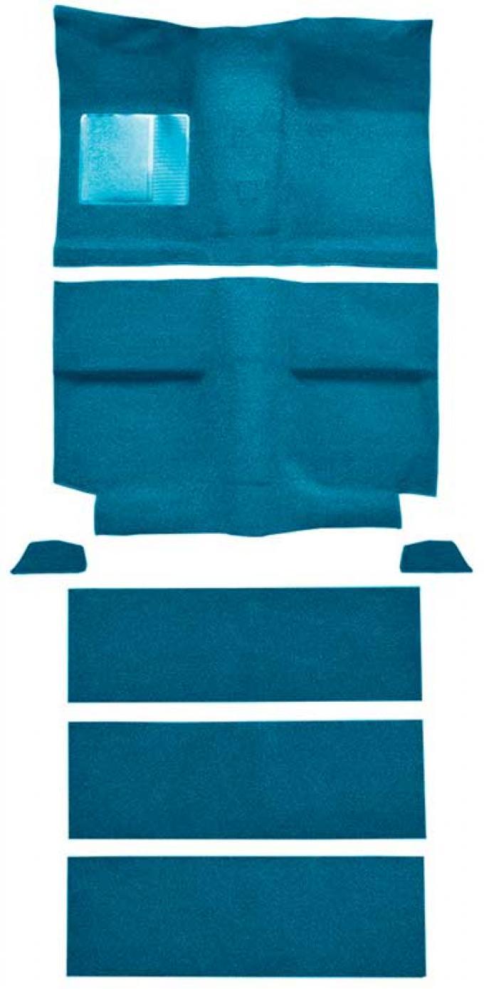 OER 1964 Mustang Fastback with Folddowns Passenger Area Nylon Loop Floor Carpet Set - Light Blue A4037A31