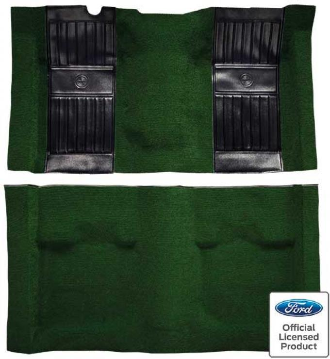 OER 1971-73 Mustang Mach 1 Nylon Floor Carpet with Mass Backing - Green with Black Pony Inserts A4115B39