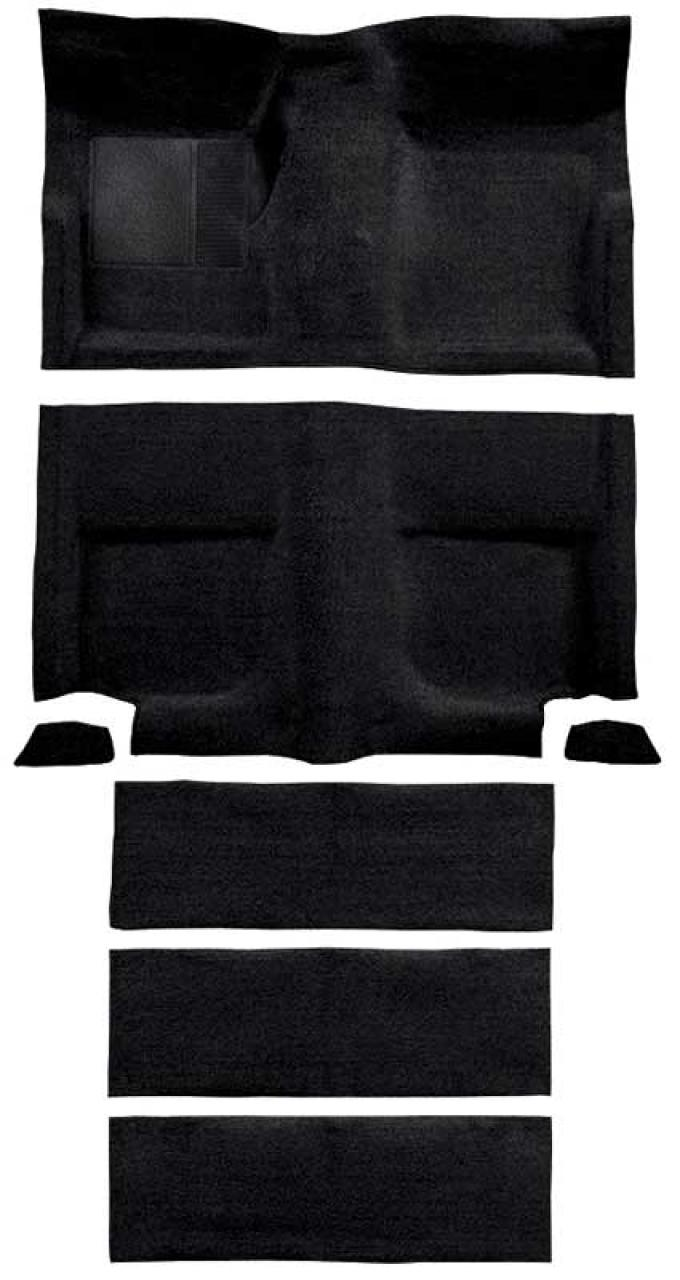 OER 1965-68 Mustang Fastback Loop Carpet with Fold Downs and Mass Backing - Black A4102B01