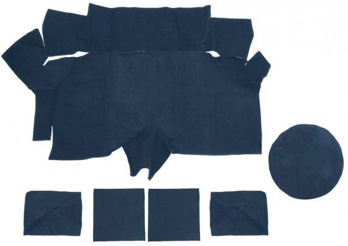 OER 1969-70 Mustang Fastback Nylon Loop Trunk Carpet Set with Boards - Medium Blue A4087A41