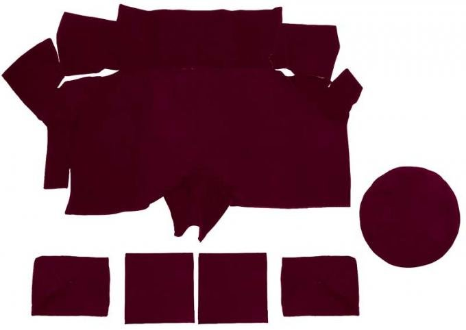 OER 1969-70 Mustang Fastback Nylon Loop Trunk Carpet Set with Boards - Maroon A4087A15