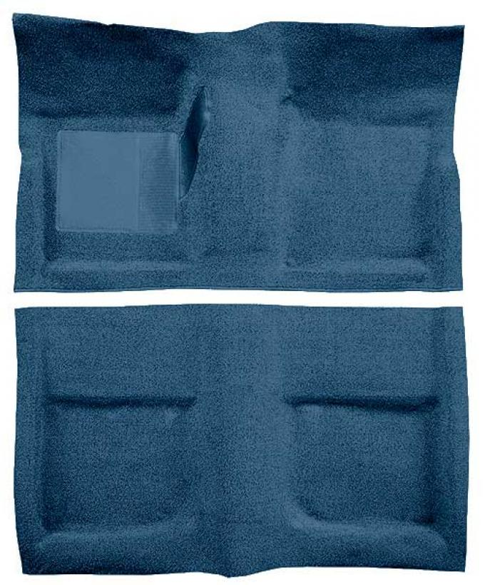 OER 1965-68 Mustang Coupe Passenger Area Loop Floor Carpet with Mass Backing - Medium Blue A4040B41