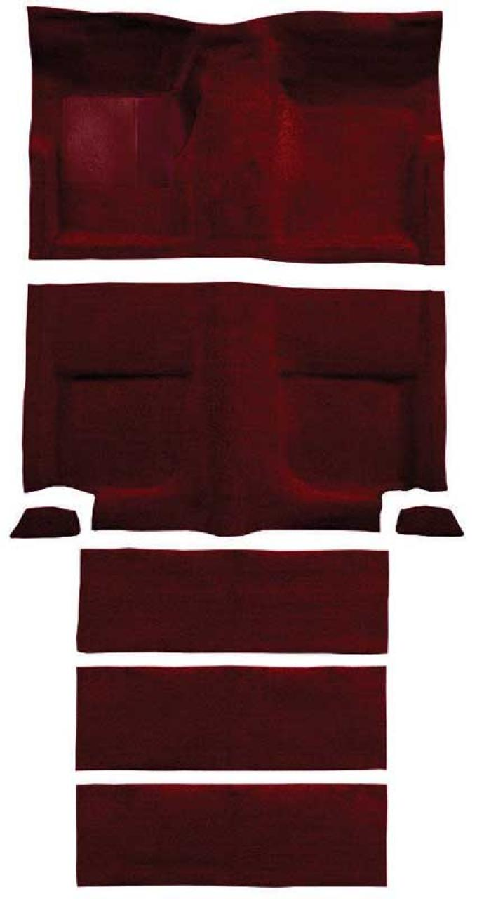 OER 1965-68 Mustang Fastback Loop Carpet with Fold Downs and Mass Backing - Maroon A4102B15