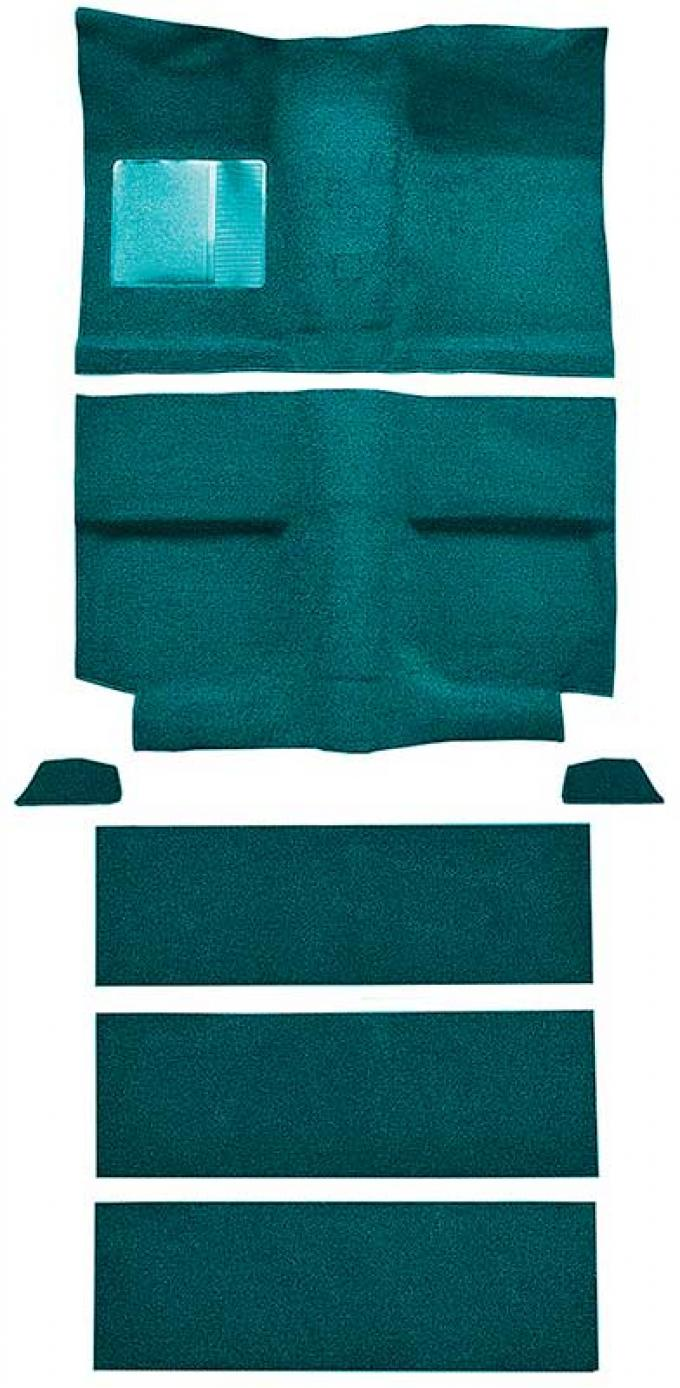 OER 1964 Mustang Fastback with Folddowns Nylon Loop Floor Carpet Set with Mass Backing - Aqua A4037B06