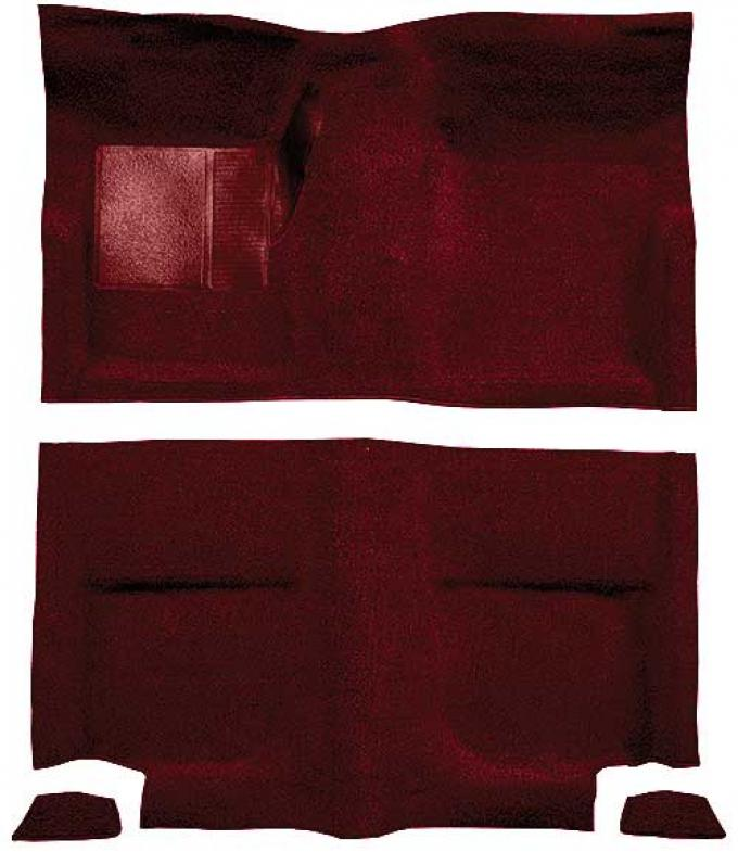 OER 1965-68 Mustang Fastback Passenger Area Loop Floor Carpet Set without Fold Downs - Maroon A4044A15