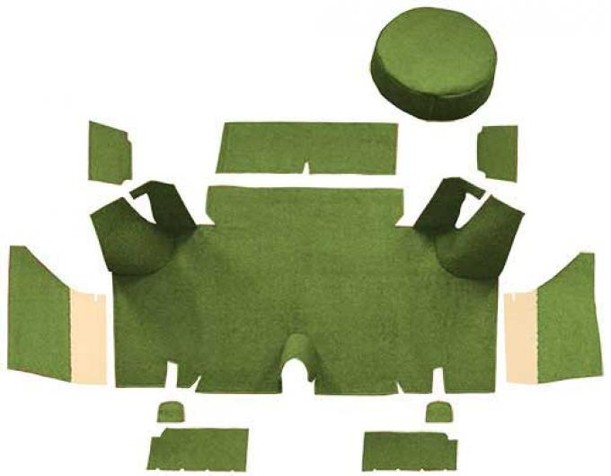 OER 1965-66 Mustang Fastback Nylon Loop Trunk Carpet Set with Boards - Moss Green A4071A19