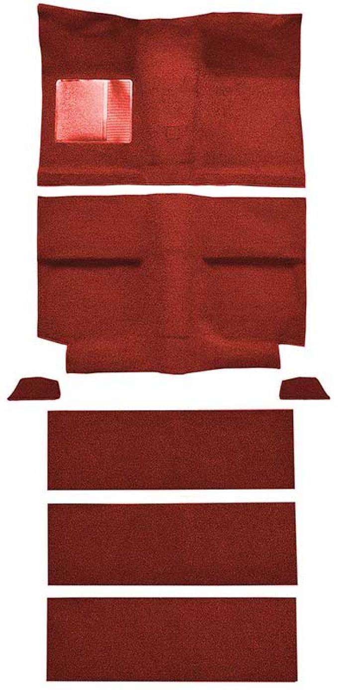 OER 1964 Mustang Fastback with Folddowns Passenger Area Nylon Loop Floor Carpet Set - Medium Red A4037A92
