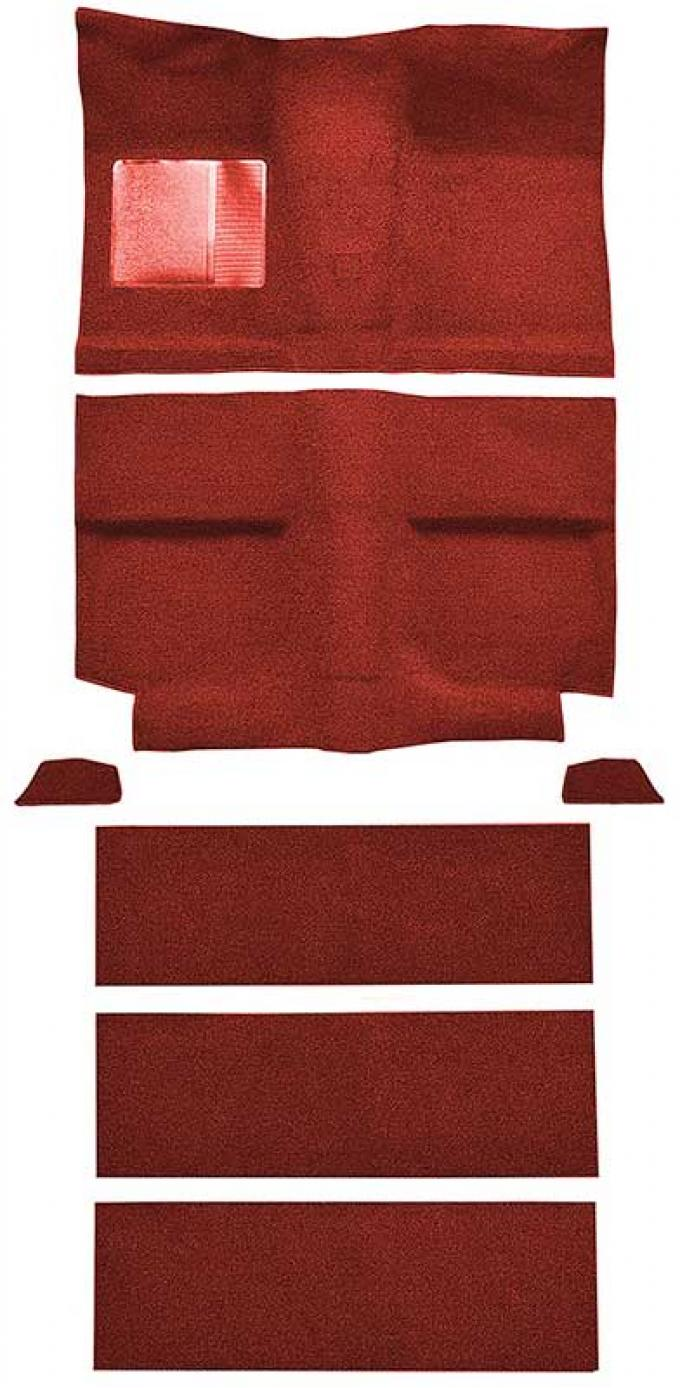 OER 1964 Mustang Fastback with Folddowns Nylon Loop Floor Carpet Set with Mass Backing - Medium Red A4037B92