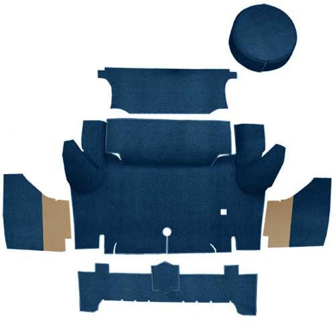 OER 1965-66 Mustang Coupe Loop Trunk Carpet Set with Boards - Dark Blue A4046A12