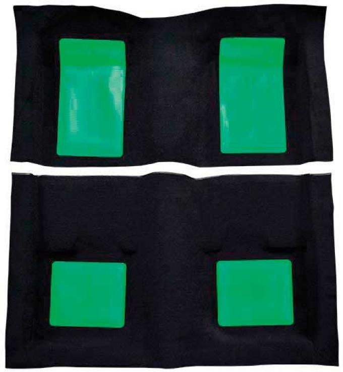 OER 1969 Mustang Mach 1 Passenger Area Nylon Floor Carpet - Black with Green Inserts A4103A39