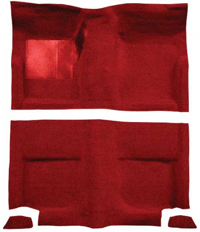 OER 1965-68 Mustang Fastback Loop Floor Carpet without Fold Downs, with Mass Backing - Red A4044B02