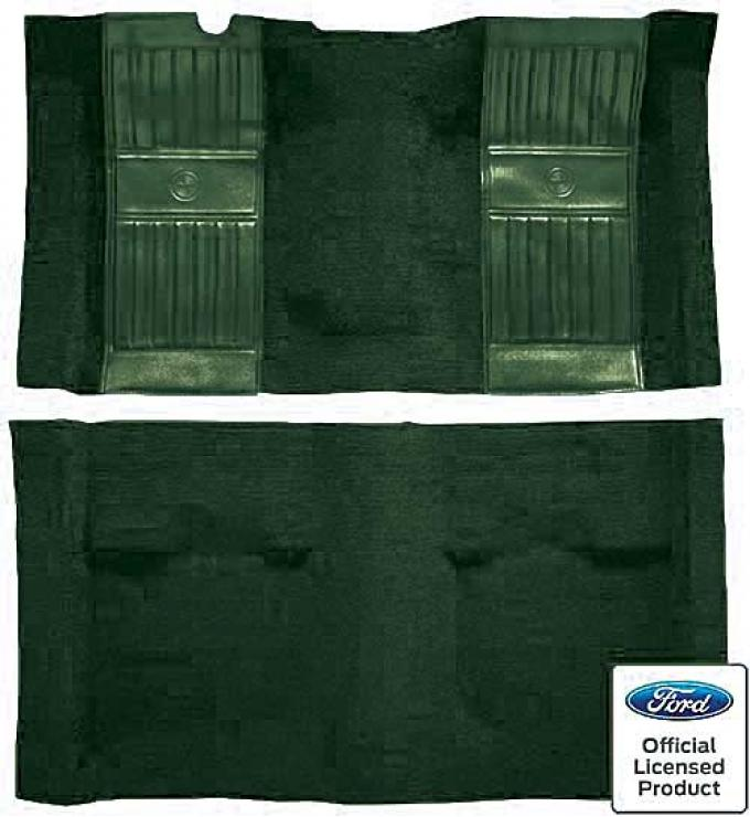OER 1971-73 Mustang Mach 1 Passenger Area Nylon Floor Carpet - Green with Green Pony Inserts A4119A39