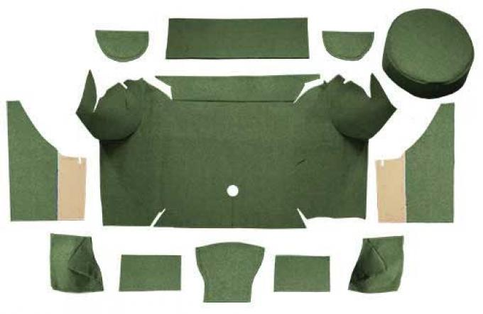 OER 1967-68 Mustang Convertible Loop Trunk Carpet Set with Boards - Moss Green A4062A19