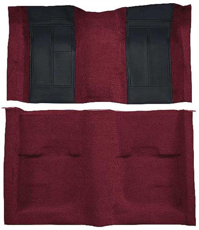OER 1970 Mustang Mach 1 Nylon Passenger Area Carpet - Maroon with Black Inserts A4107A15