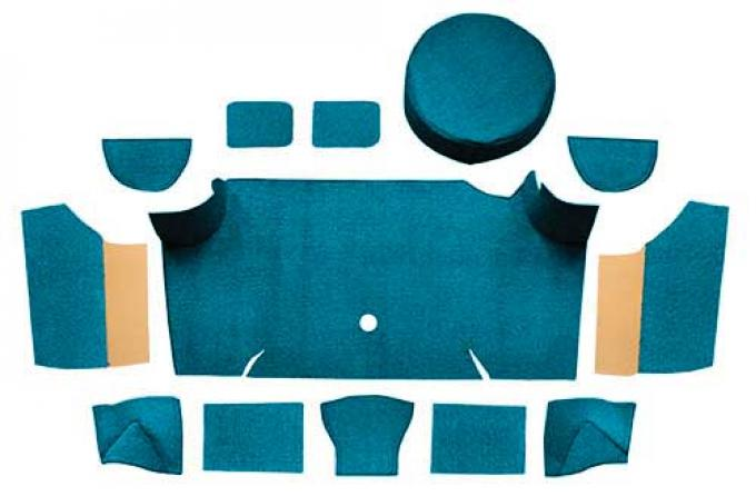 OER 1967-68 Mustang Fastback Nylon Loop Trunk Carpet Set with Boards - Aqua A4083A06