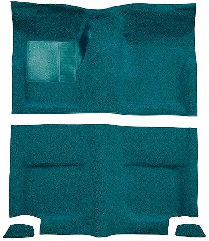 OER 1965-68 Mustang Fastback Passenger Area Nylon Loop Floor Carpet without Fold Downs - Aqua A4049A06