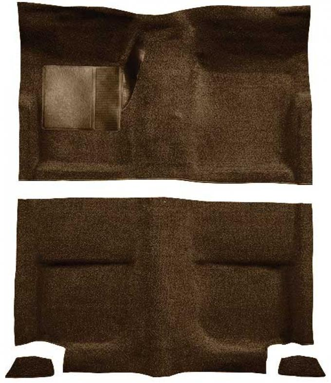 OER 1965-68 Mustang Fastback Loop Floor Carpet without Fold Downs, with Mass Backing - Dark Saddle A4044B18