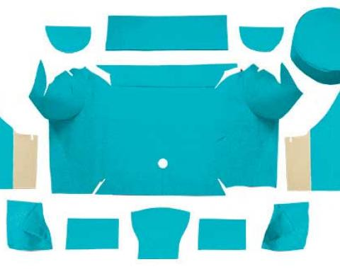 OER 1967-68 Mustang Convertible Nylon Loop Trunk Carpet Set with Boards - Light Blue A4079A31