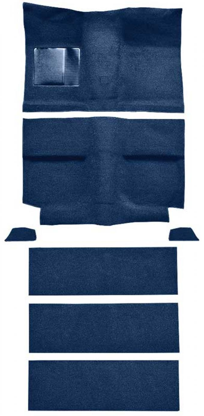 OER 1964 Mustang Fastback with Folddowns Loop Floor Carpet Set with Mass Backing - Dark Blue A4036B12