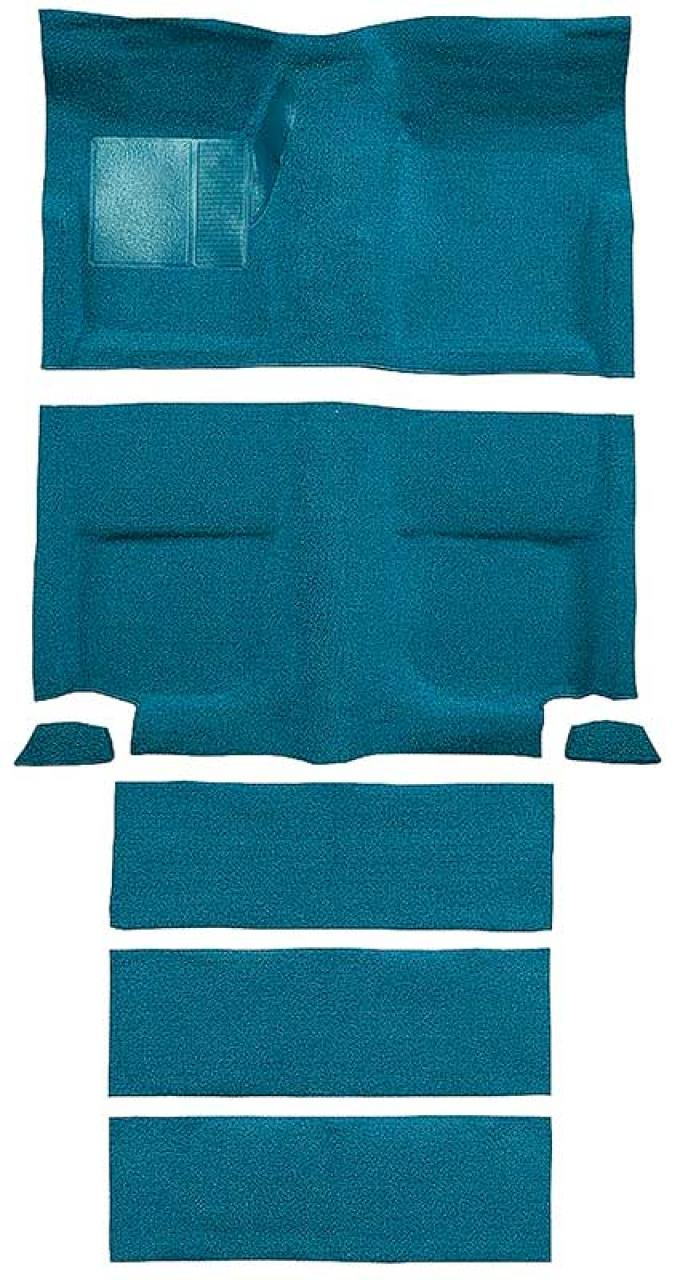 OER 1965-68 Mustang Fastback Nylon Floor Carpet with Fold Downs and Mass Backing - Aqua A4099B06