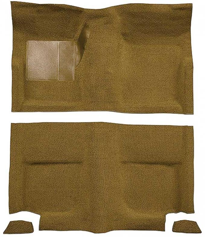 OER 1965-68 Mustang Fastback Passenger Area Nylon Loop Floor Carpet without Fold Downs - Medium Saddle A4049A69