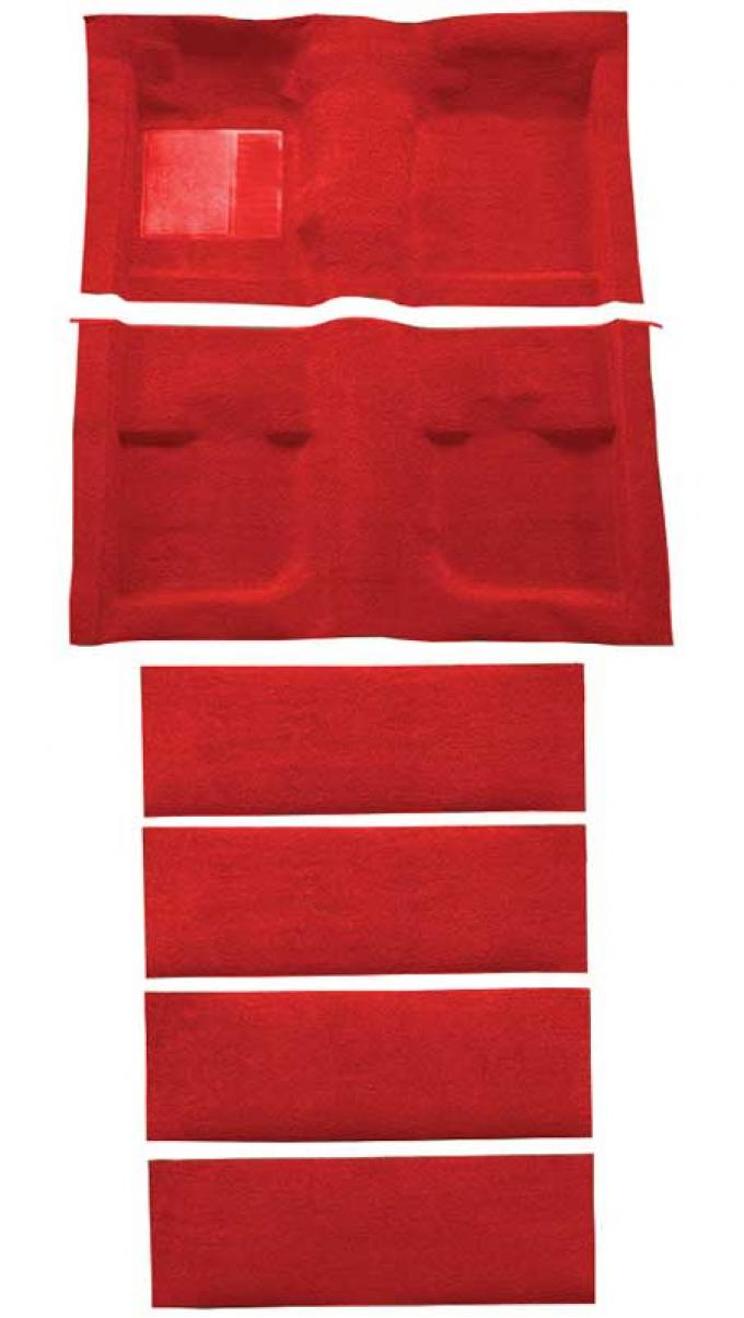 OER 1971-73 Mustang Coupe/Fastback Nylon Loop Floor Carpet with Fold Downs - Medium Red A4061A92
