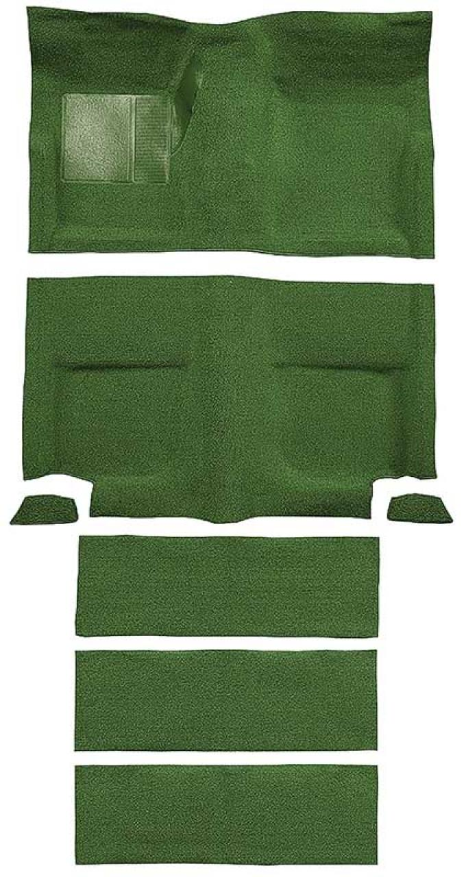 OER 1965-68 Mustang Fastback Nylon Floor Carpet with Fold Downs and Mass Backing - Moss Green A4099B19