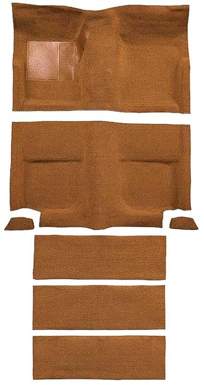 OER 1965-68 Mustang Fastback Nylon Loop Floor Carpet with Fold Downs - Medium Saddle A4099A69