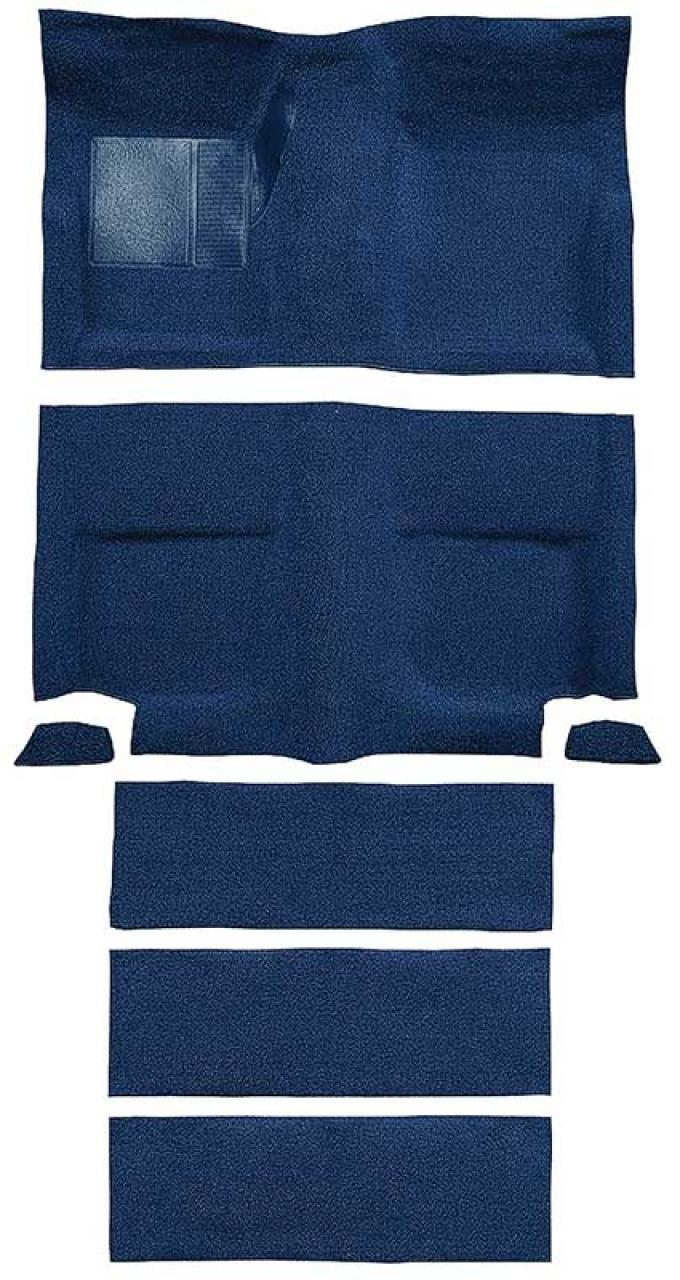 OER 1965-68 Mustang Fastback Nylon Loop Floor Carpet with Fold Downs - Dark Blue A4099A12