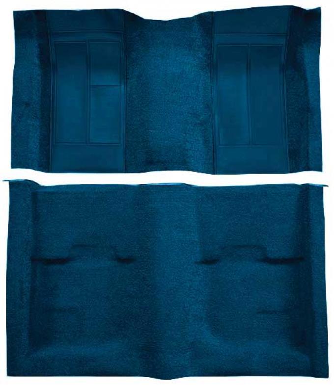 OER 1970 Mustang Mach 1 Passenger Area Nylon Floor Carpet - Dark Blue with Dark Blue Inserts A4113A12