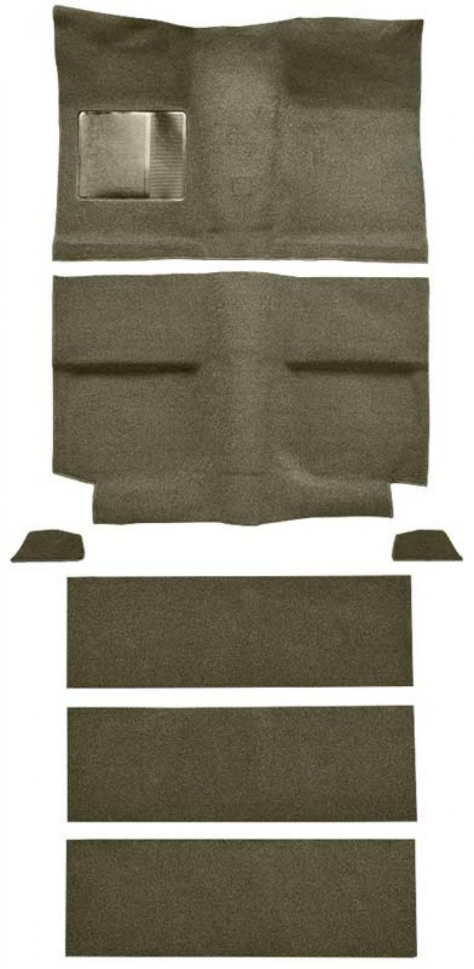 OER 1964 Mustang Fastback with Folddowns Loop Floor Carpet Set with Mass Backing - Ivy Gold A4036B09