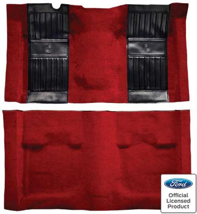 OER 1971-73 Mustang Mach 1 Nylon Floor Carpet with Mass Backing - Red with Black Pony Inserts A4115B02