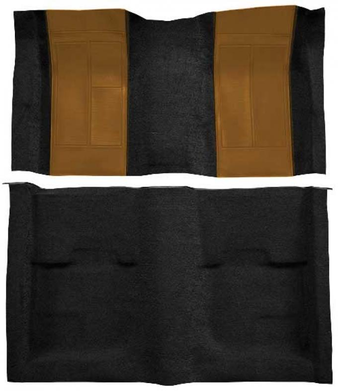 OER 1970 Mustang Mach 1 Nylon Floor Carpet with Mass Backing - Black with Ginger Inserts A4109B29