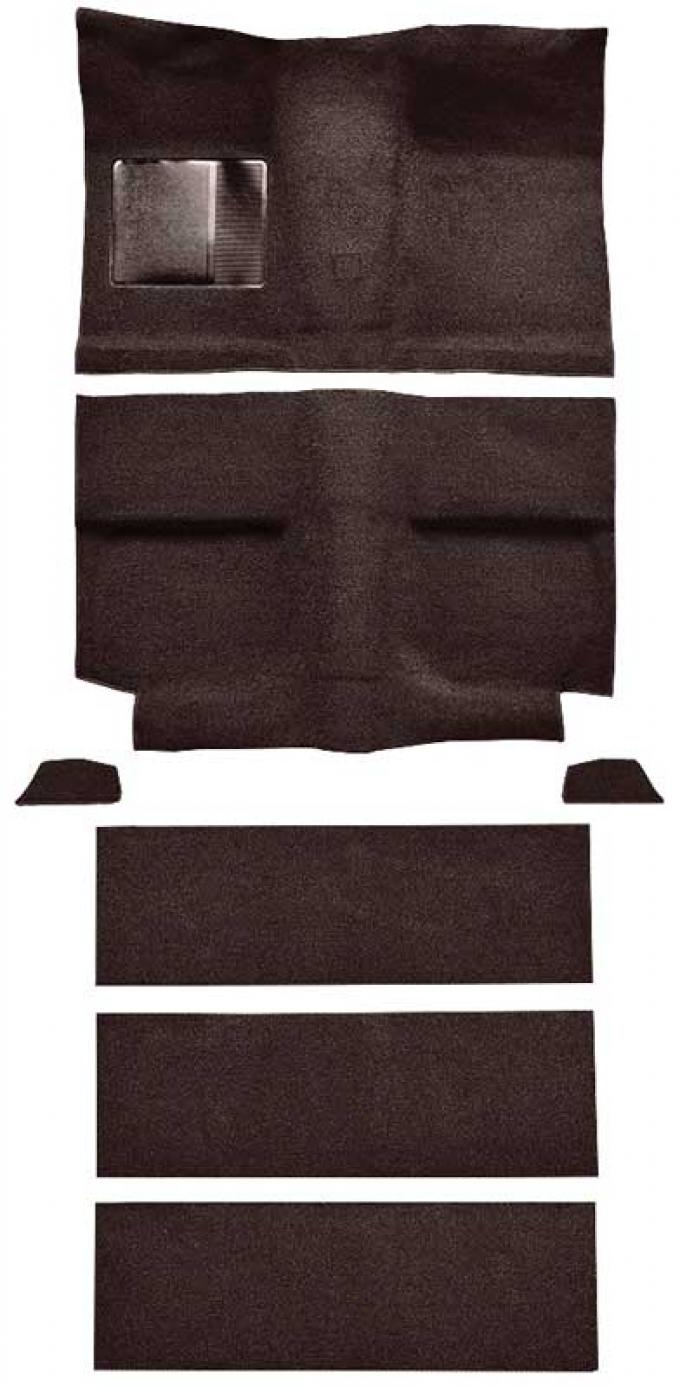 OER 1964 Mustang Fastback with Folddowns Loop Floor Carpet Set with Mass Backing - Dark Brown A4036B30