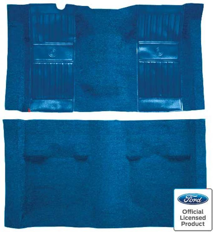 OER 1969 Mustang Mach 1 Nylon Floor Carpet with Mass Backing - Medium Blue with Medium Blue Inserts A4105B41