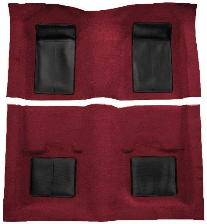 OER 1969 Mustang Mach 1 Passenger Area Nylon Loop Floor Carpet - Maroon with Black Inserts A4101A15