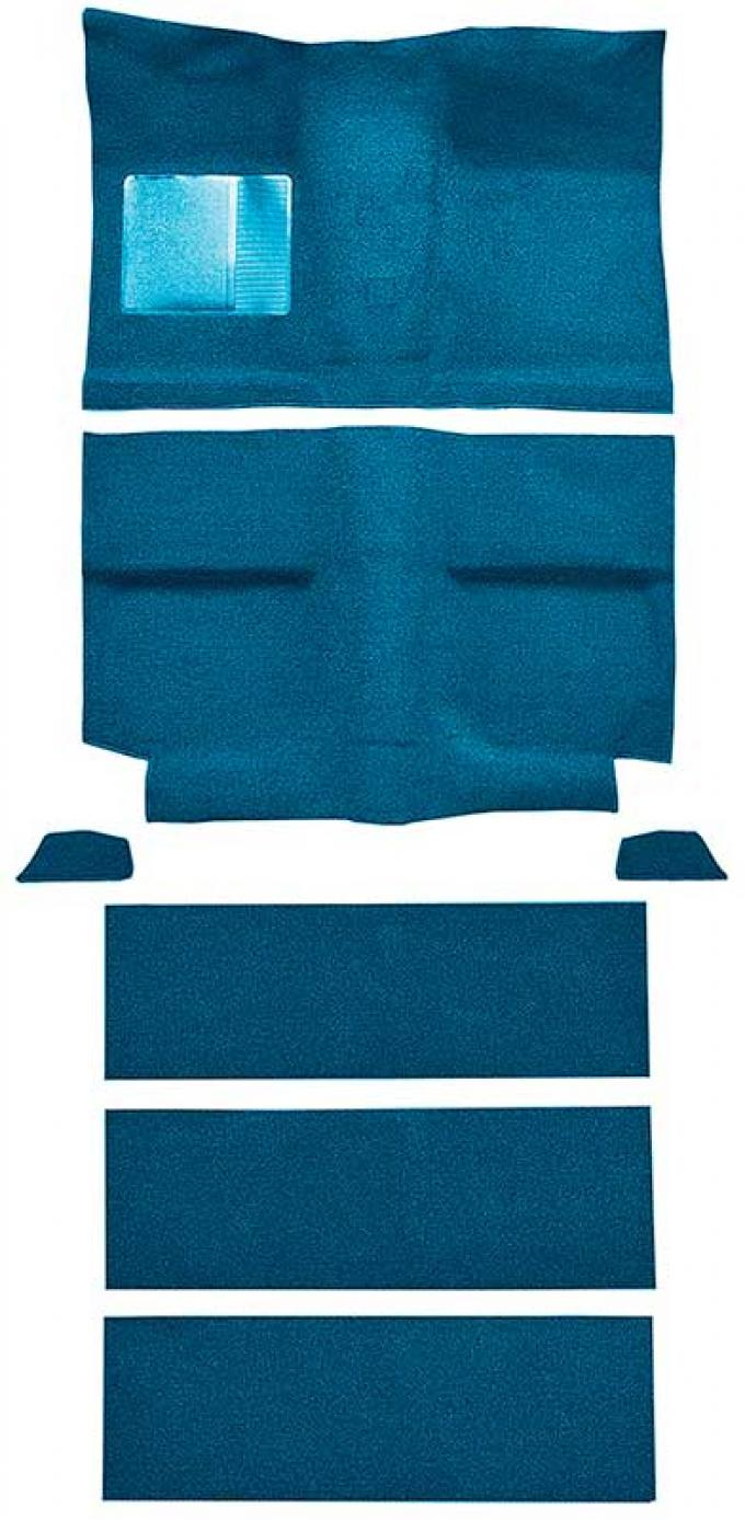 OER 1964 Mustang Fastback with Folddowns Nylon Loop Floor Carpet Set with Mass Backing - Medium Blue A4037B41
