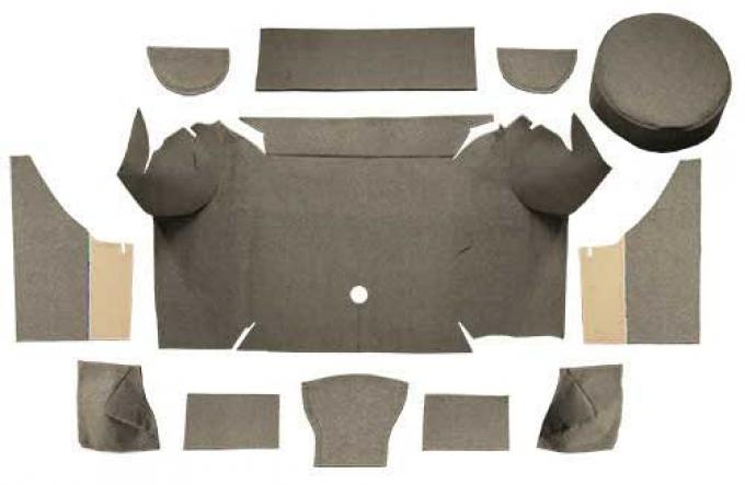 OER 1967-68 Mustang Convertible Loop Trunk Carpet Set with Boards - Parchment A4062A07
