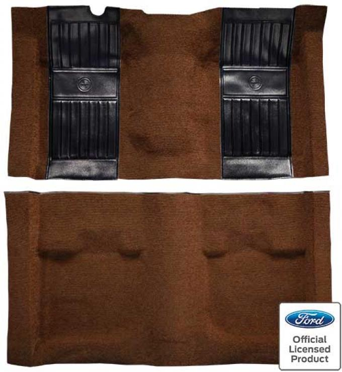 OER 1971-73 Mustang Mach 1 Passenger Area Nylon Floor Carpet - Ginger with Black Pony Inserts A4115A29