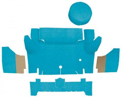 OER 1965-66 Mustang Convertible Nylon Loop Trunk Carpet Set with Boards - Light Blue A4067A31