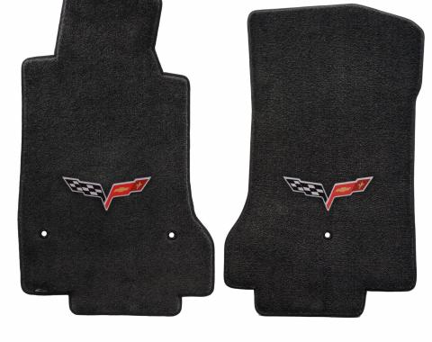 Corvette Floor Mats, 2 Piece Lloyd® Ultimat™, with C6 Logo, Ebony, 2013.5